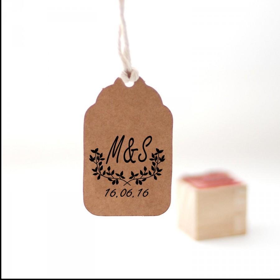 Custom Monogram Stamp Wedding Rubber Personalized Initials Laurel Branches W1