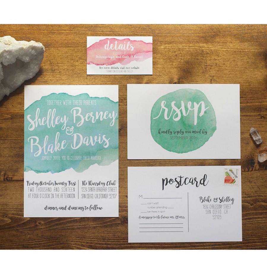 زفاف - Printable Watercolor Wedding Invitation Suite