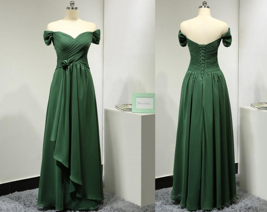 Wedding - Off the Shoulder Short Sleeves Sweetheart Chiffon Dark Green Long Bridesmaid Dress with Handmade Flower Elegant Evening Gown