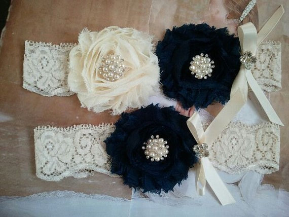Wedding - SALE - Wedding Garter, Bridal Garter, Garter - Navy/Ivory Garter Set with Pearl & Rhinestone on a Ivory Lace -  Style G2062