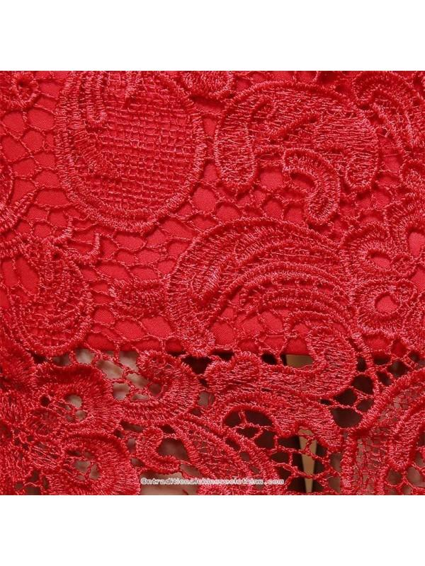 Düğün - Fur trim long sleeve red lace winter cheongsam Chinese wedding mermaid dress - Cntraditionalchineseclothing.com