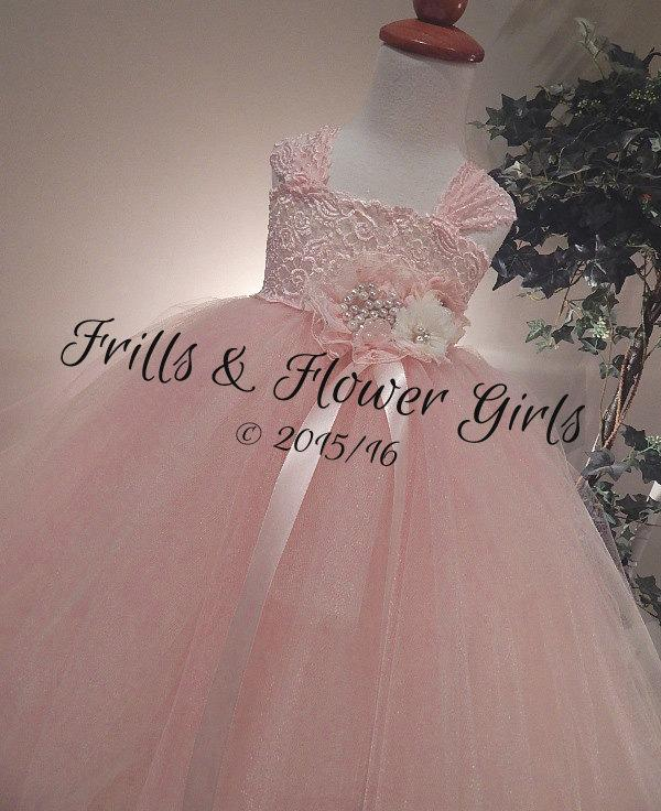 Mariage - Light BLUSH Flower Girl Dress LINED skirt Blush Lace Flower Girl Dress Blush Lace Tutu Dress Flower Girl Dress Sizes 18 Mo to Girls Size 10