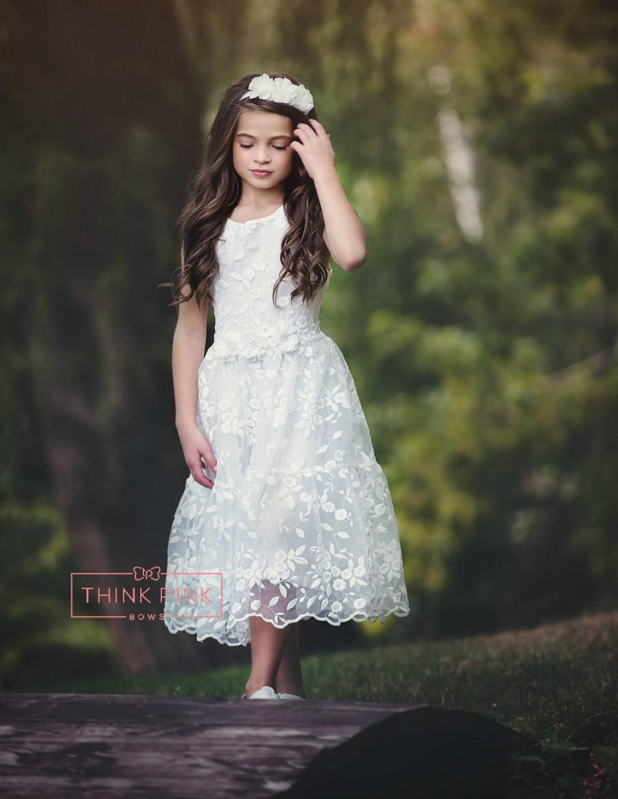 Mariage - Flower Girl dress, lace flower girl dress,white flower girl dress, white lace dress, rustic flower girl dress,