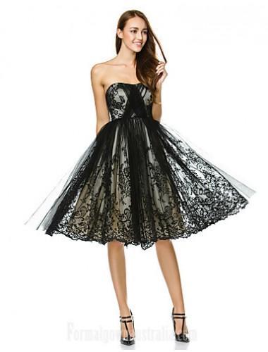 Australia Cocktail Party Dress Black A Line Strapless Short Knee