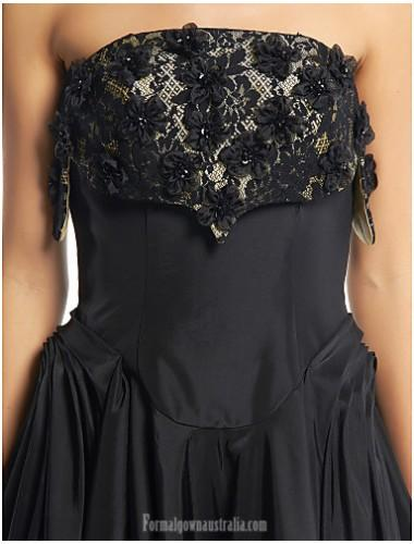 Свадьба - Australia Cocktail Party Dress Black A-line Strapless Tea-length Lace Taffeta Formal Dress Australia - Formalgownaustralia.com
