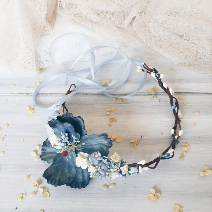 Mariage - Winter wedding,Bridal floral crown, Bohemian headpiece, Floral crown, Blue Flower crown, Boho headpiece, Bridal headband, Woodland wedding