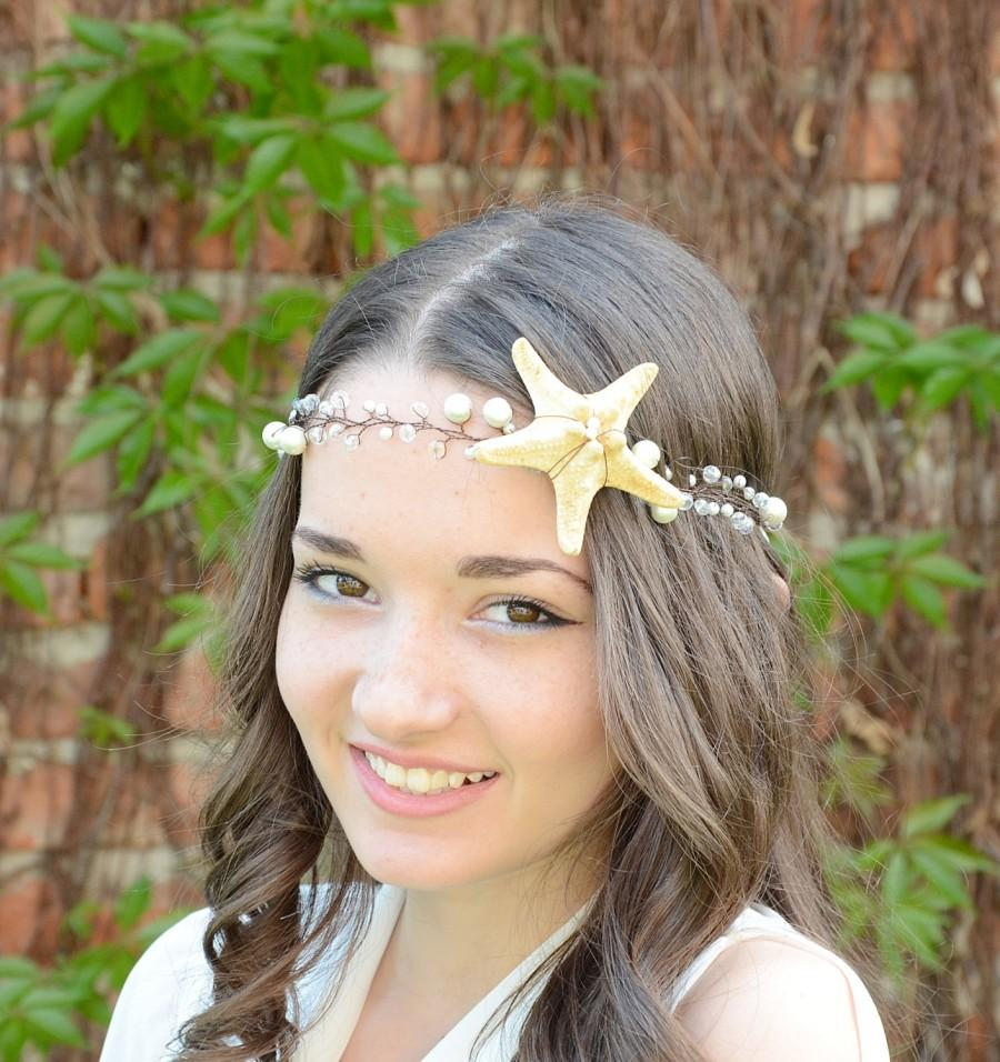 Mariage - Beach Wedding tiara, Starfish and Pearl Hair Vine, Nautical Wedding Headpiece, Destination Wedding crown, Bridal crystal Tiara with Starfish