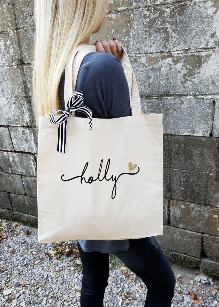 Свадьба - Bridesmaid Tote Bag, Personalized Bridesmaid Gift, Maid of Honor Totes, Bridal Party Bags (BR036)