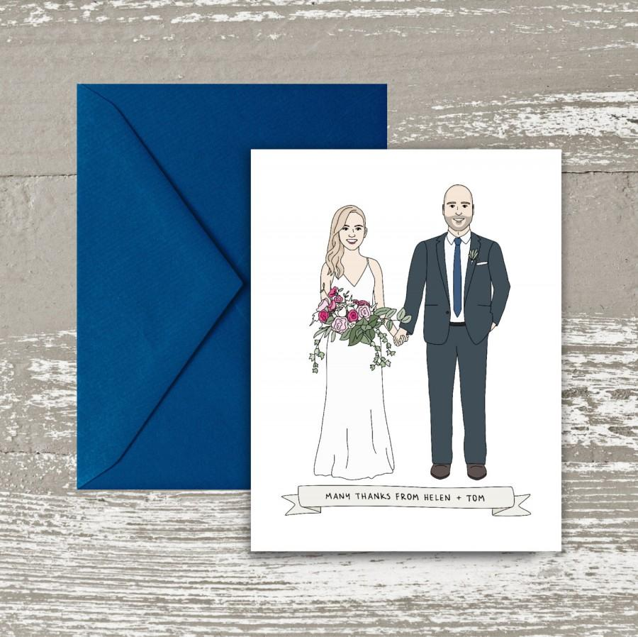 Wedding - Custom Wedding Thank You Card - Wedding Thank You Note - Personalized Wedding Thank You Card - Custom Portrait Wedding Illustration