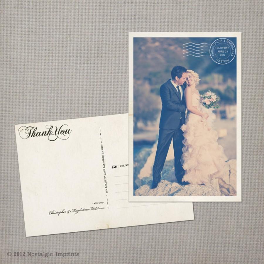 "Wedding - Vintage Wedding Thank You Cards / Wedding thank yous / Wedding Thank You Cards / Thank you Cards / Thank you postcard - the ""Magdalena"""