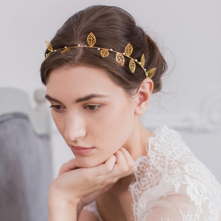 Свадьба - Wedding Hair Vine, Pearl Wedding Hair Vine, Gold Wedding Hair vine, Pearl Hair Crown, Bridal Hair Vine Gold, Leaf Hair Vine