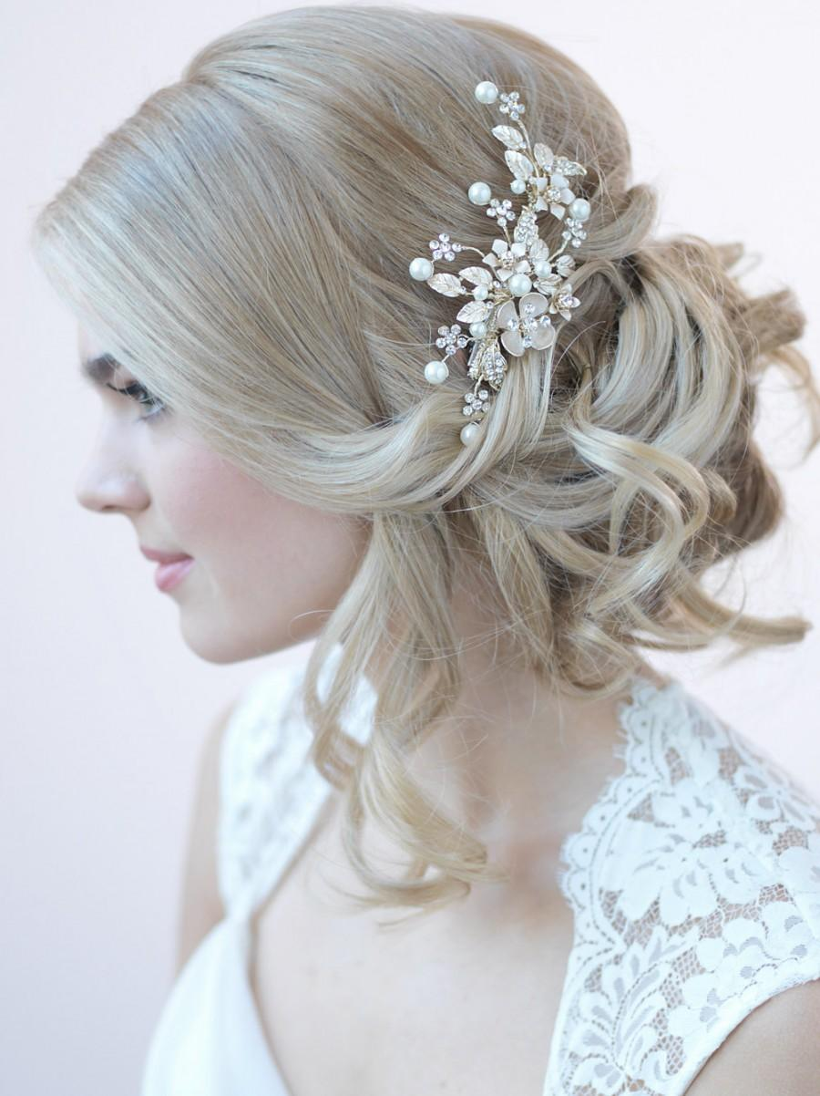 Gold Bridal Hair Clip Fl Clips For Weddings Pearl Rhinestone Headpiece Tc 2272 G