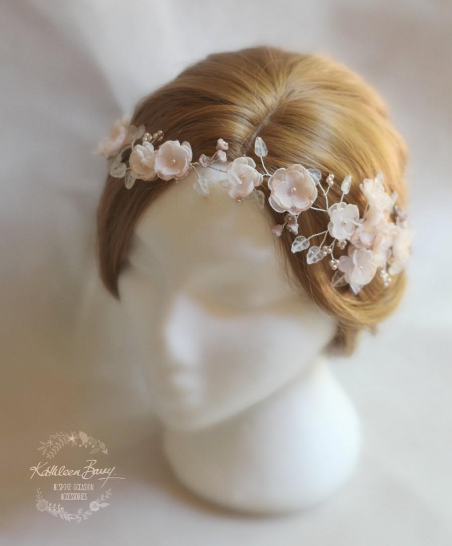 R1900 Blush Pink Hair Vine Blossom Wedding Bridal Hair Accessory