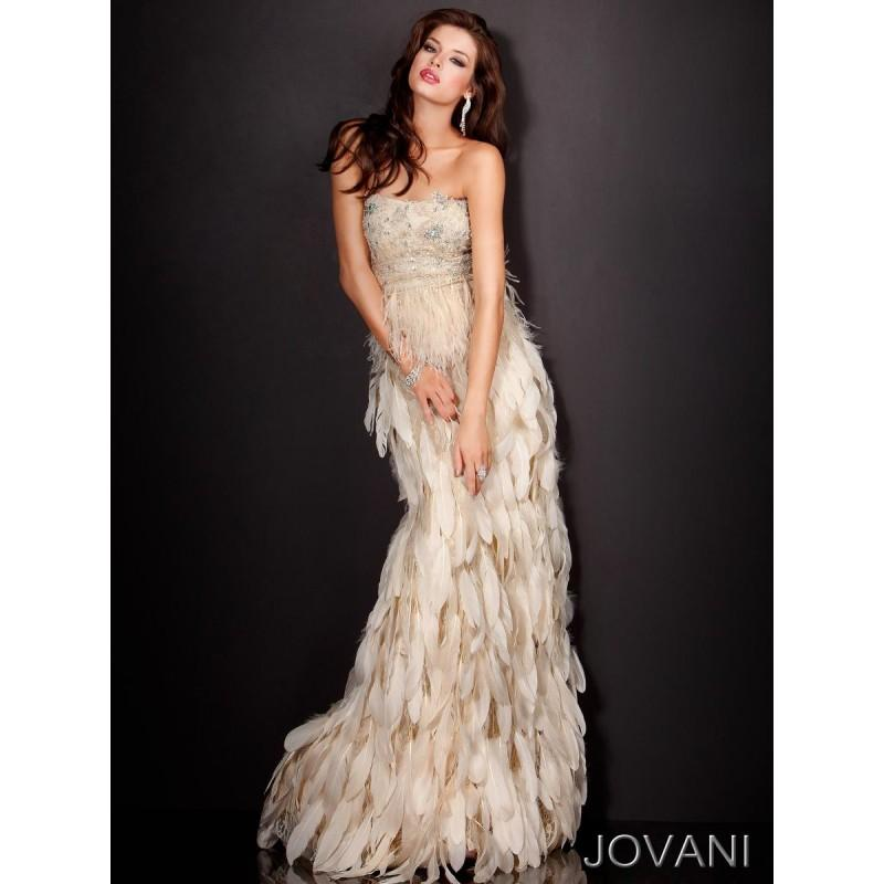 Classical Classy Beaded Bodice Jovani Gown With Tiered Feather Skirt ...