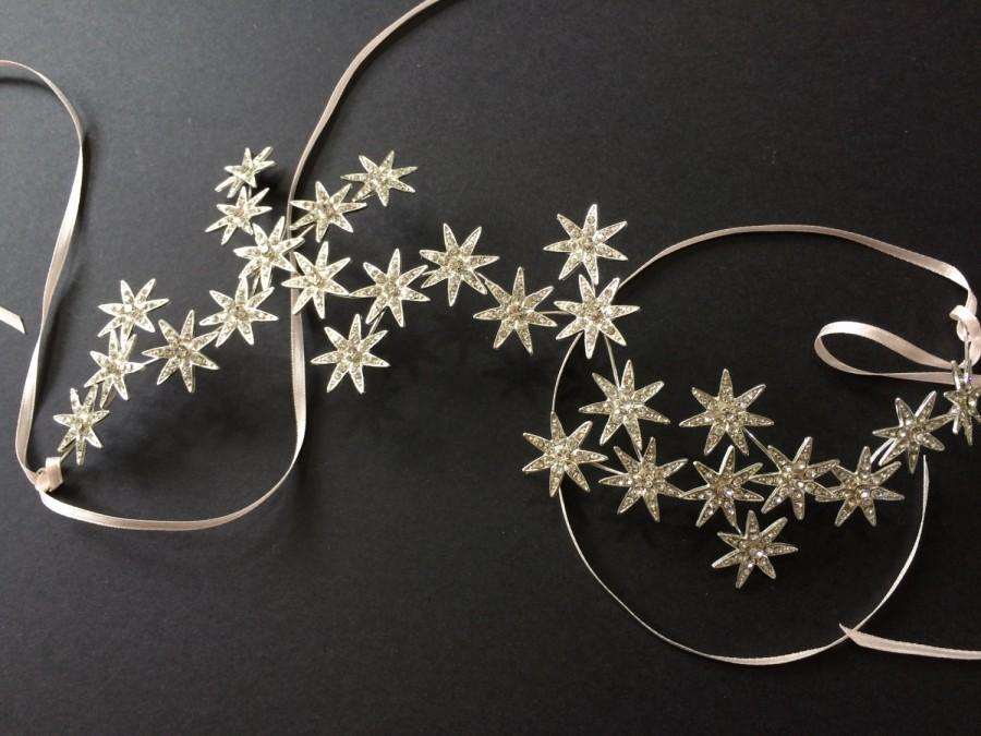 Mariage - Sparkle Stars Bridal Bridesmaids Swarovski Rhinestones Crystals Hair Comb Headband Tiara