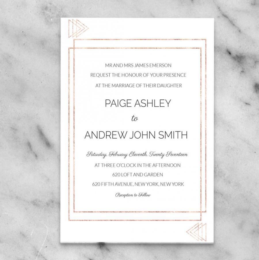 Rose Gold Invitation Wedding Modern Triangle Editable Diy Spring