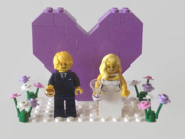 Lego Wedding Cake Topper Customised Lavender Pink Pastel Theme