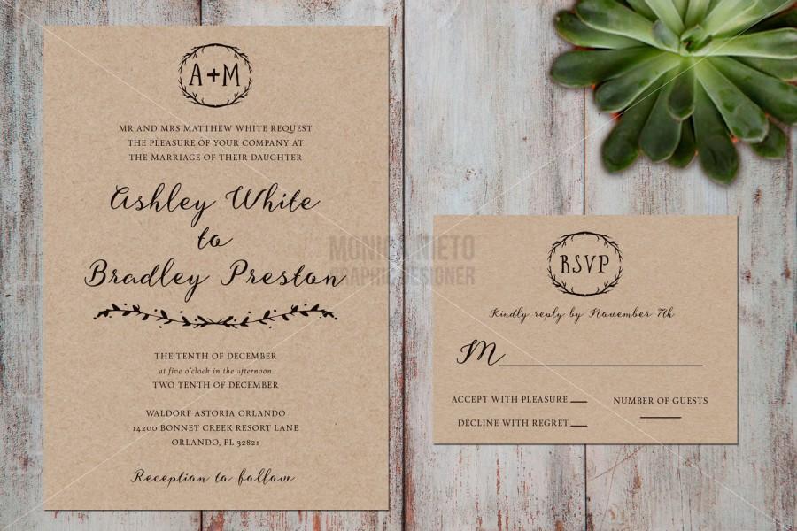 Wedding - Printable Rustic Wedding Invitation and RSVP / Woodland Kraft Paper Wedding Invitation