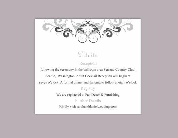 Mariage - DIY Wedding Details Card Template Editable Text Word File Download Printable Details Card Gray Silver Details Card Elegant Information Cards