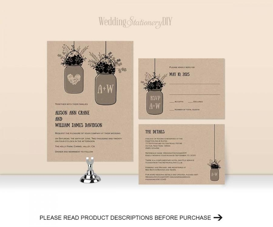 photograph relating to Printable Wedding Invitation Kits titled Rustic Marriage Invitation Kits, Printable Wedding ceremony Invitation