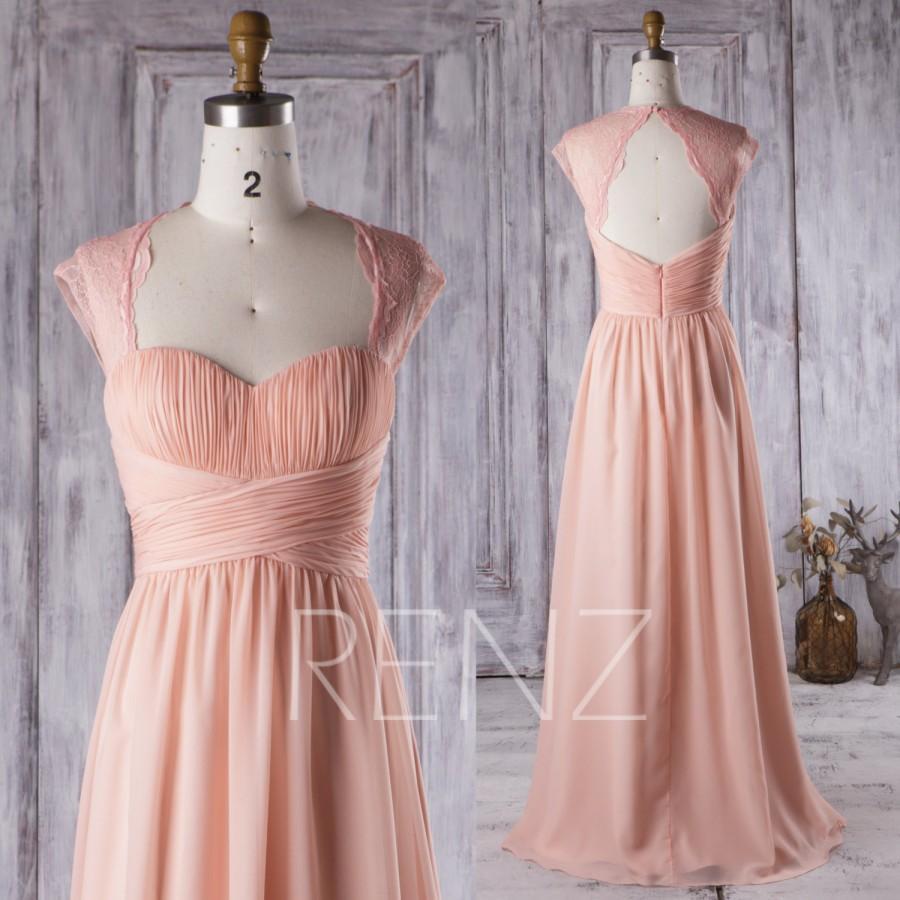 2016 Peach Chiffon Bridesmaid Dress, Ruched Sweetheart Wedding Dress ...