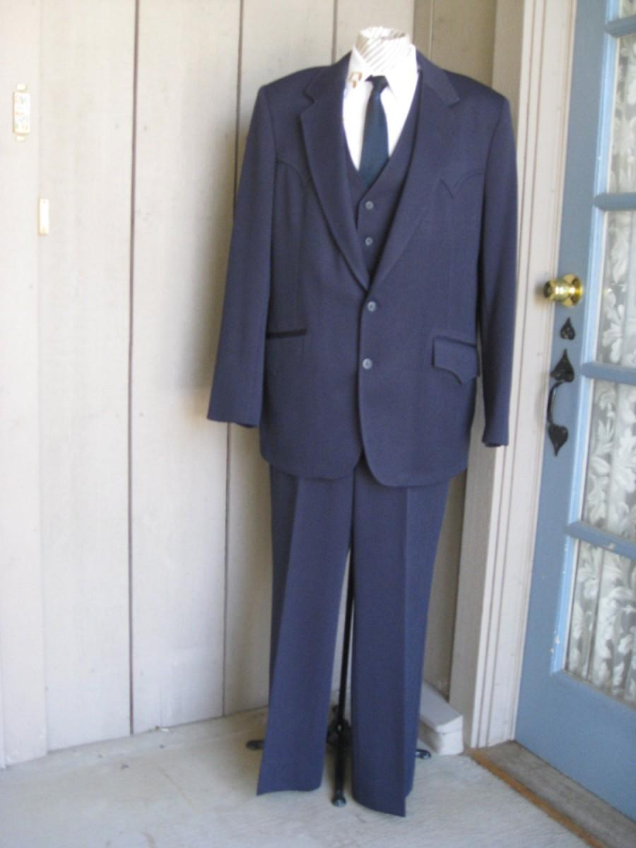 Wedding - Vintage Men's Navy Blue 3 Piece Western Cut Suit/ The Westerner Mens Suit/ Western Vest/Slacks/Jacket/ Western Suit Size 42/ Slacks 37-30