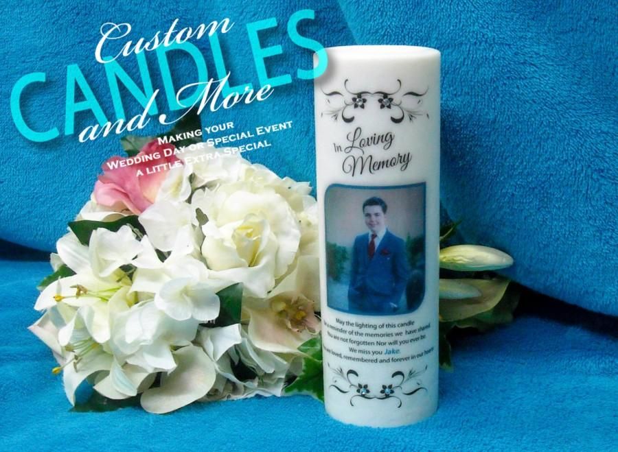 Wedding - Palm Wax Memorial Candle With Photo And Tealight Insert