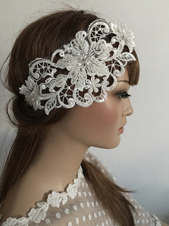 Wedding - Bridal Lace Headband, Floral Wedding Headpiece, Bridal headband, Ivory pearl headband, Lace hair, Wedding Hair, Bridal Hair, Accessories