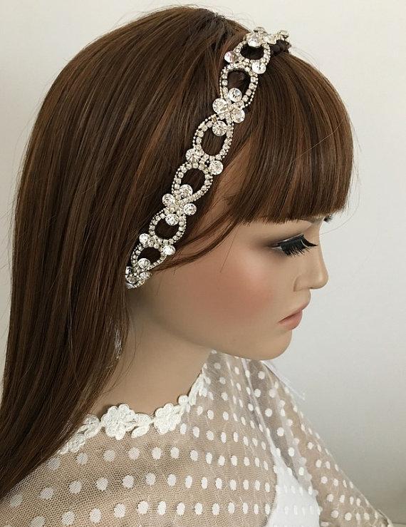 Wedding - Rhinestone Headband, Wedding Headpiece, Rhinestone Headpiece, Wedding Hair piece, Bridal Hair, Hair Accessories