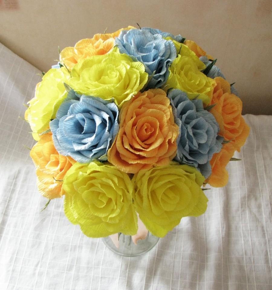 Paper Flower Wedding Bouquet Crepe Paper Roses Yellow Orange Blue