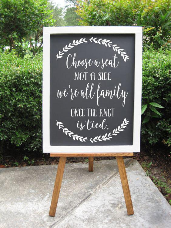 Choose A Seat Not A Side Decals Rustic Wedding Sign