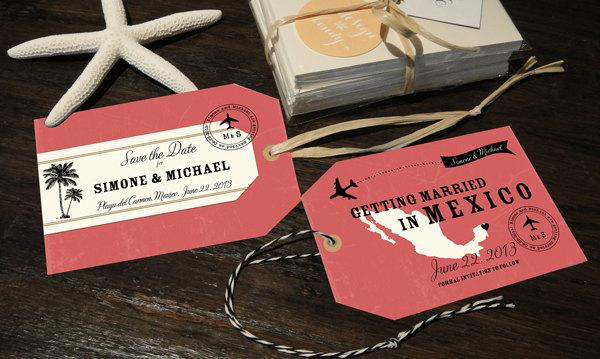 زفاف - Luggage Tag Save the Dates with a map, customizable for any country and location with your own wedding colors
