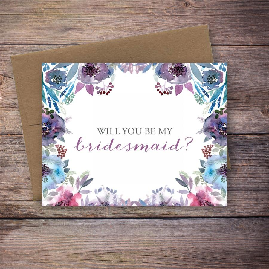 Wedding - Printable Floral Will You Be My Bridesmaid Card - Instant Download Greeting Card - Will You Be My Bridesmaid Instant Download - Wedding Card