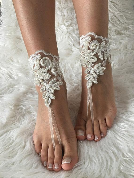 Wedding - Ivory bridal anklet, Beach wedding barefoot sandals, bangle, wedding anklet, free ship, anklet, bridal, wedding