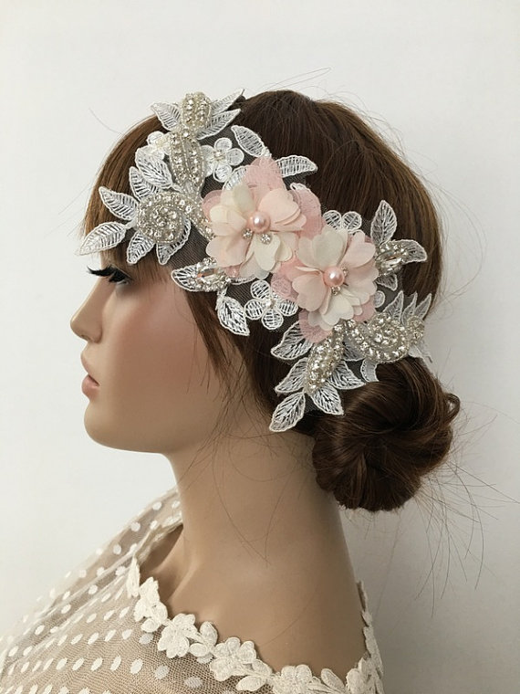 Wedding - Bridal Lace Hair Piece, ivory salmon 3D Floral Wedding Headpiece, Bridal Lace Headpiece, Rhinestone hairpiece Bridal Hair, Accessories