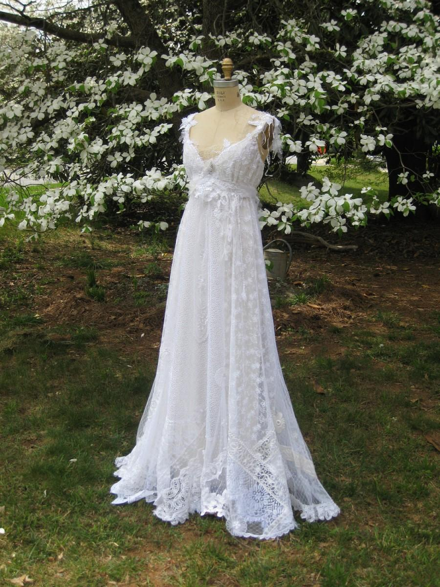 Wedding - Hippie Lace Collage Gown, One of a Kind, Boho Wedding Dress, Beach Wedding Dress, Hippie Wedding Dress, Lace wedding Dress