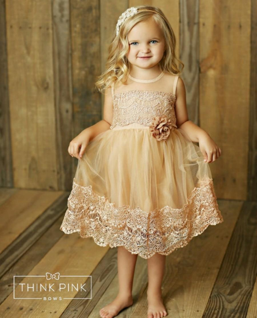 Hochzeit - Flower girl dress, lace flower girl dress, country flower girl dress, rustic flower girl dress, baby dress, champagne lace dress, girl dress