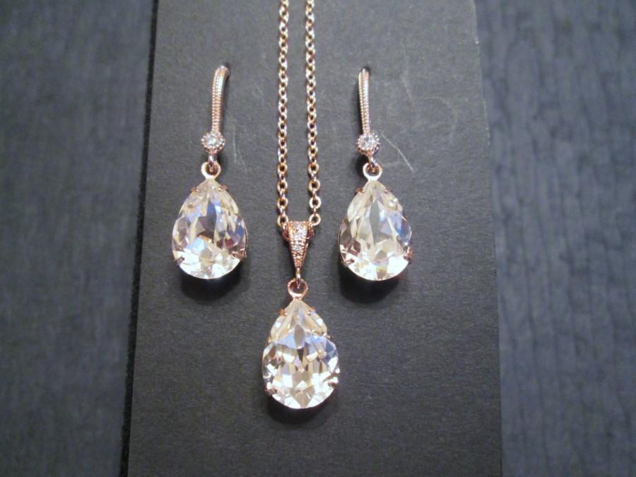Mariage - NEW Rose Gold Bridesmaid Jewelry Set/Swarovski Pink Rosaline Crystal/Bridesmaid Set/Crystal Necklace/Swarovski Crystal Earrings/Blush Pink