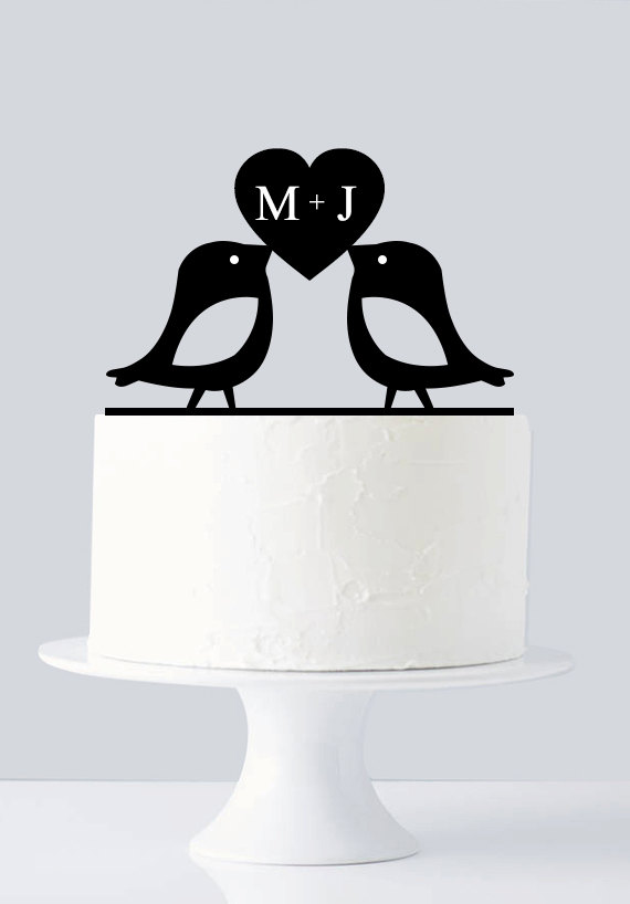 Mariage - Love Birds Cake Topper, Custom First Name Initial A636