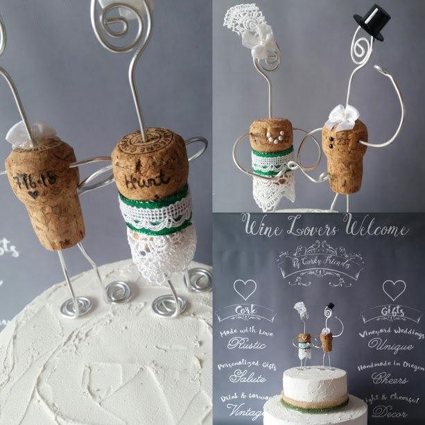Mariage - Made in Oregon, Custom Wedding CAKE TOPPERS, Wine Inspired, Whimsical Toppers, Top Hats and Lace, Woodsy, Personalized, Rustic Wedding, cFz
