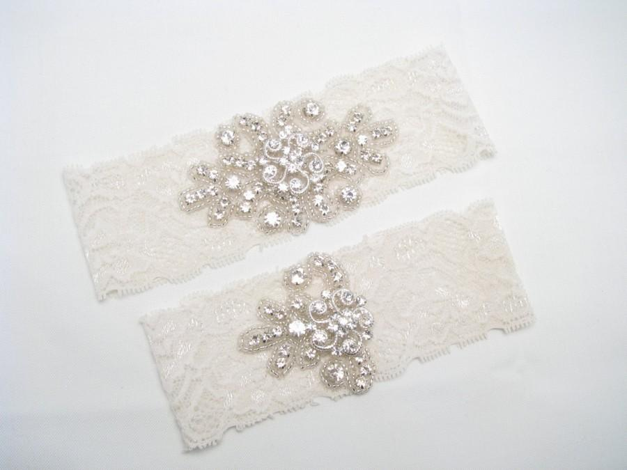 Wedding - Wedding Garter, Crystal Rhinestone Garter, White / Ivory Bridal Garters, Keepsake and Toss Garters, Petite or Plus Size Custom Garters