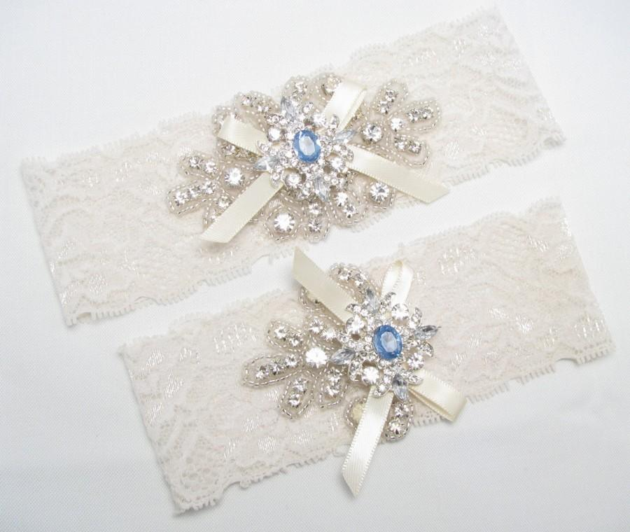 Mariage - Something Blue Wedding Garter Set, Crystal Rhinestone Keepsake / Toss Bridal Garters, Lace Garter, Ivory / White Garters, Custom Size Garter