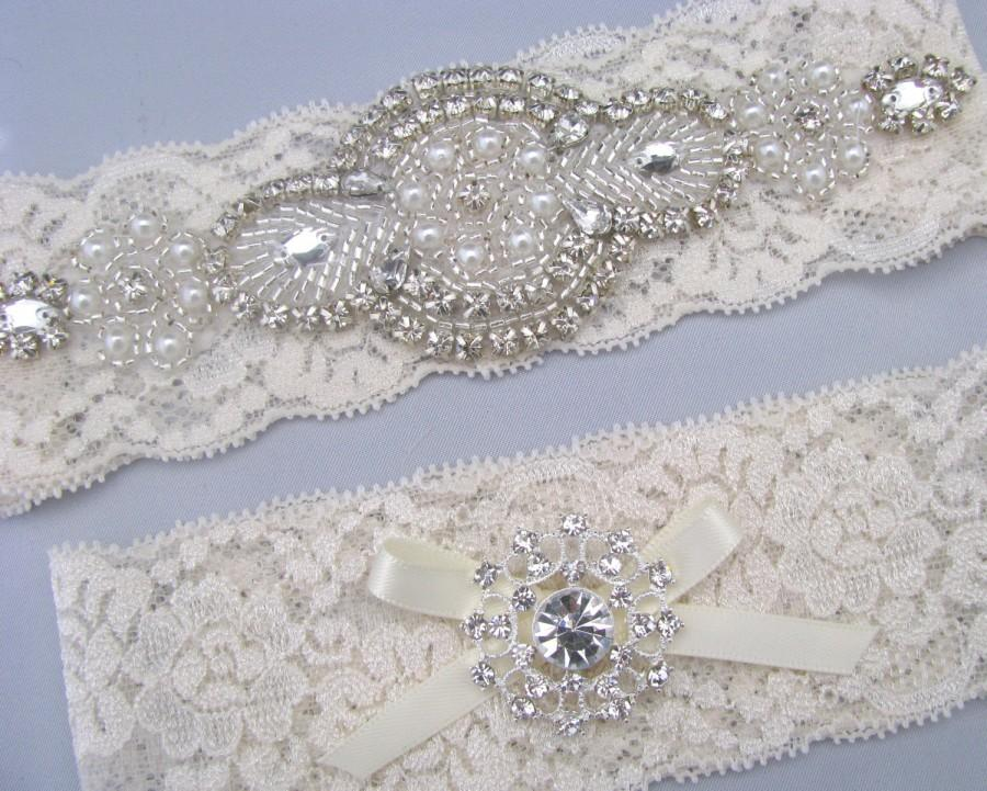 Wedding - Pearl Crystal Wedding Garter Set, Ivory / White Lace Bridal Garters, Rhinestone Keepsake and Toss Garters, Heirloom Garter, Something Blue