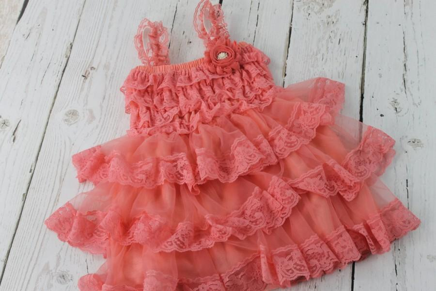 Mariage - Coral Flower Girl Dress Rustic Flower Girl Dress Junior Jr Bridesmaid Dress Country Shabby Chic Wedding Lace Dress Lace Dress Cream Dress