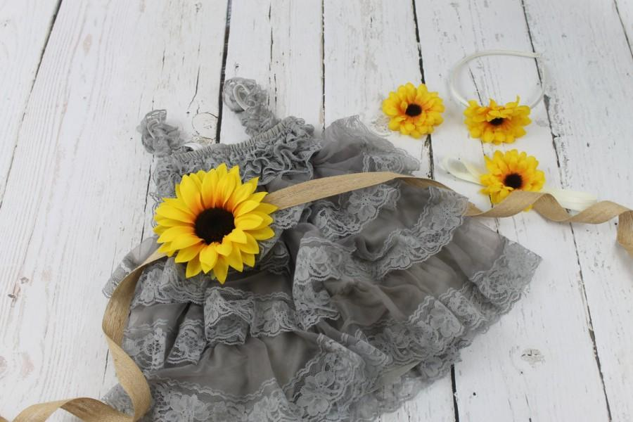 Mariage - Grey Flower Girl Dress Sunflower Flower Girl Dress Rustic Grey Flower Girl Dress Grey Jr Bridesmaid Dress Gray Country Wedding Dress