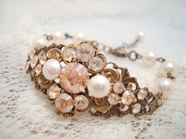 Mariage - Wedding bracelet, cuff bracelet, bridal jewelry, vintage style bracelet, antique brass, Swarovski crystal and pearl