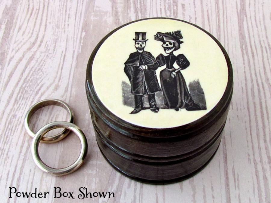 Mariage - Day of the Dead Bride and Groom Pill Box - Skull Couple Vitamin Box - Skull Wood Ring Box - Day of the Dead Ring Box - Wedding Rings Box