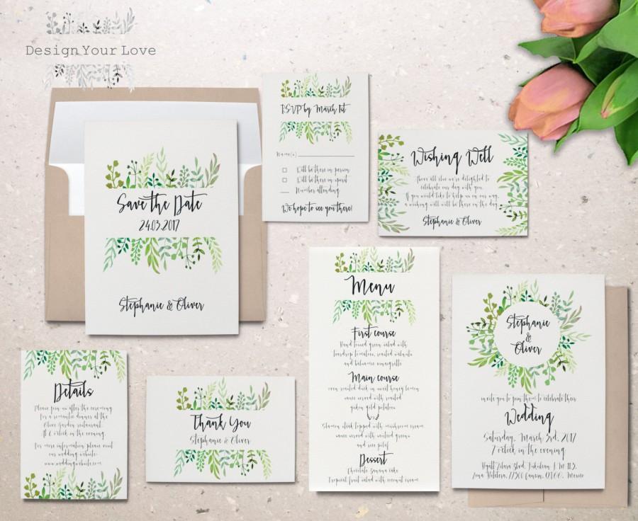 Hochzeit - printable wedding invitation set printable greenery wedding invitation suite leafy wreath garden wedding calligraphy invite save the date