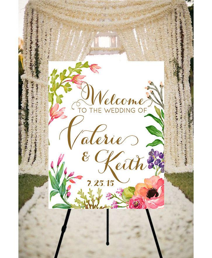 Mariage - Wedding Welcome Sign Peaches & Cream - printable welcome sign wedding diy CUSTOMIZED, printable wedding signage, summer wedding rustic