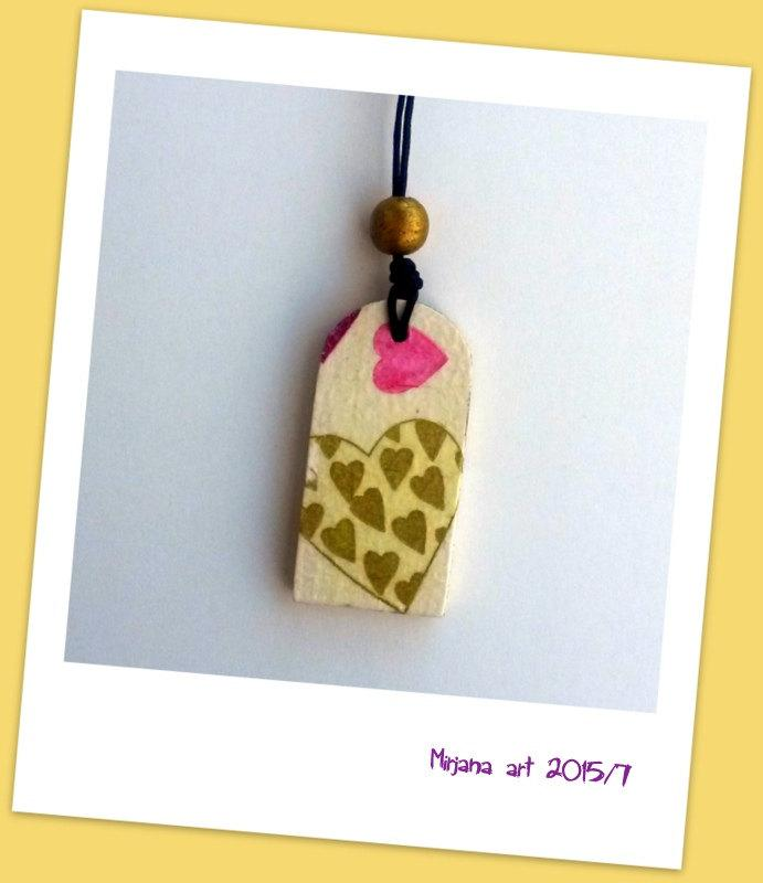 Wedding - After Christmas Sale Heart necklace, Valentine's gift, eco friendly, decoupage necklace, natural jewelry, love pendant, handmade, antialerg